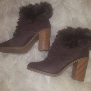 Dark Brown Ankle Fur Boots Winter